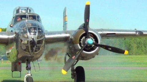Loud B-25 Mitchell Smokey Engine Startup And Roaring Through The Skies | Frontline Videos