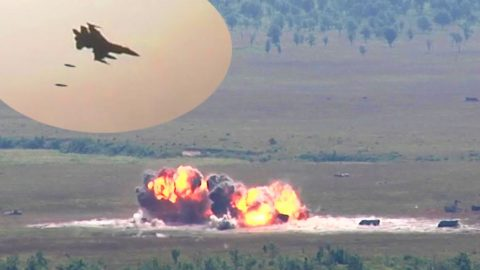 F-16 Unleashes 500-Pound Bombs On Heavy Vehicles – This Thing Is A Monster | Frontline Videos