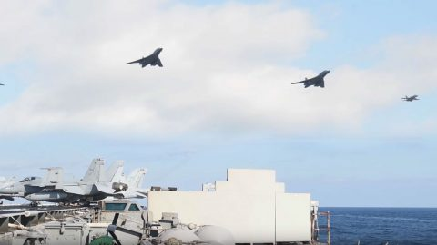 Killer Footage Of B-1s And F-18s Over 3 Carriers In A Show Of Force Not Seen In Decades   Frontline Videos