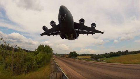 Guy Gets Right Under C-17's Glide Slope-It'll Make You Duck In Your Seat | Frontline Videos
