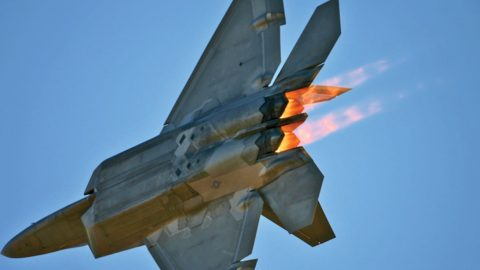 F-22 Raptor Does A Loop On Its Axis Performing The Elusive Falling Leaf   Frontline Videos
