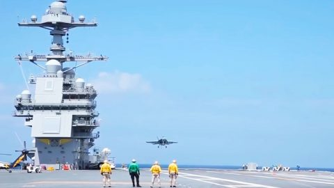 New Carrier USS Ford Launches First Plane With Electromagnetic Catapult | Frontline Videos