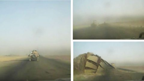 Dash Cam Footage Of A Humvee Nearly Nailed By Massive IED | Frontline Videos