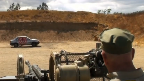 R. Lee Ermey Takes Out Car With Flak 38 20mm Gun | Frontline Videos