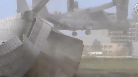US Air Force CV22 Osprey Tiltrotor Rips Up Hospital Helicopter Pad | Frontline Videos