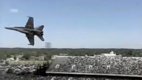 F-18 Hornet Dips Into Stadium For Flyover | Frontline Videos